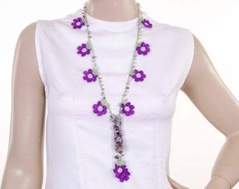 Crystal necklace ,Turkish oya necklace ,Crochet bead necklace  jewelry, purple daisy flower necklace
