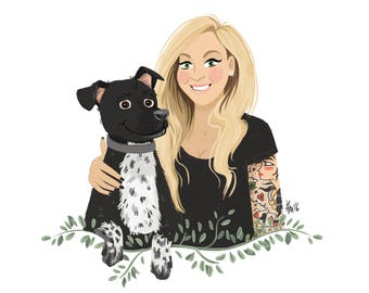 1 Person + 1 Pet illustrated custom portrait. Couple family pet portrait, custom illustration, anniversary, birthday, graduation gift
