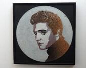Limited Edition Elvis Presley stencil art vinyl record - black light UV reactive artwork