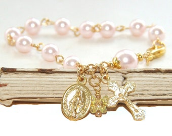 Girl's Pink Crystal Pearl Rosary Bracelet / First Communion or Confirmation Gift