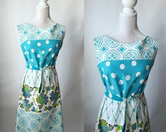 Vintage 1960s Blue and White Cotton Folk Print Dress, Large Size