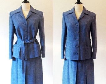 COAT SALE 70s Blue Wool Suit, Vintage Womens Suit, Blue 1970s Suit, Vintage Separates