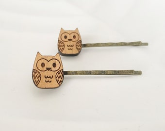 Wooden owl hair pins - 'Little hooters' bobby pins, hair clips, hair accessory - laser cut Tasmanian Blackwood