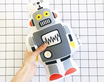 Gray retro robot cushion robot pillow robot plush toy - grey robot toys - boys bedroom decor - stuffed robot toys - handmade in Australia