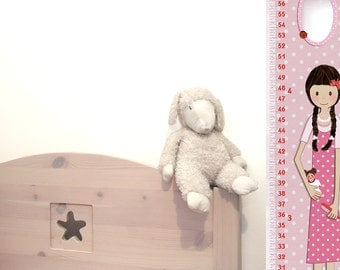 Personalized Growth Chart for Girls - Vinyl or Canvas ,Feet & Inches or Meters Cm