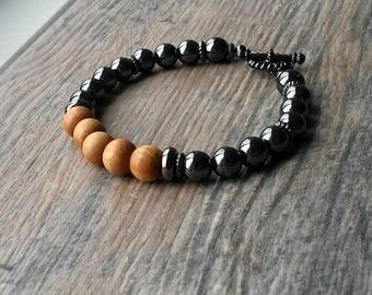 Sandalwood, meditation, yoga bracelet, mala beads, sandalwood bracelet, gemstone,strength, hematite healing, wrist mala