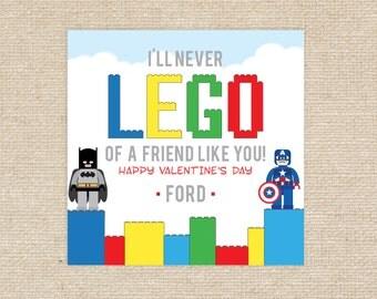 Printable 'LEGO' Valentine Tags