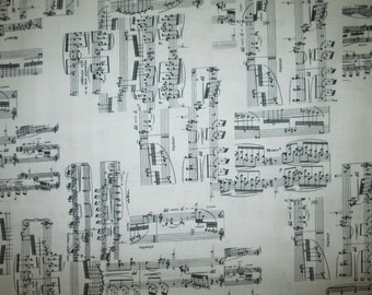 Music Notes Lines Black White Cotton Fabric Fat Quarter or Custom Listing