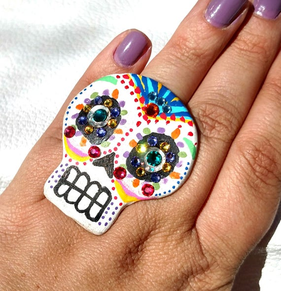 Hand Painted Day of The Dead Sugar Skull Statement Ring with Swarovski Crystals - Free Shipping