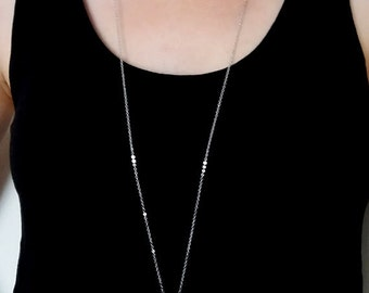 Silver Cross Necklace. Large Cross Charm. Cross Pendant. Cross Jewelry. Long Necklace. Layering Layered