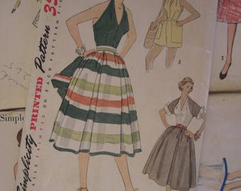 Vintage Sewing Pattern 1950 Halter Top Bolero and Skirt