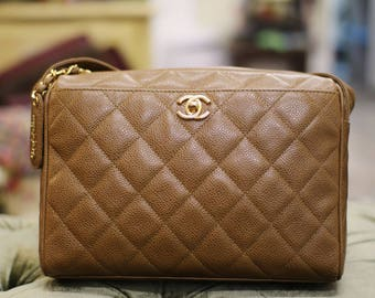 Vintage Chanel Honey Brown Caviar Shoulder Bag