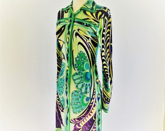 Original highly collectible vintage Emilio Pucci dress- Authentic mod 1960s Pucci signature silk dress- medium