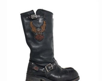 SALE 7 1/2 | Men's Vintage Harley Davidson Motorcycle Boots Tall Engineer Boots