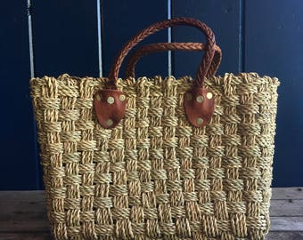 1970's Heavy Woven Straw Tote Beach Bag