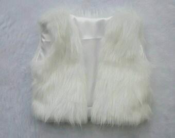 ON SALE White Faux Fur Baby Boho Vest