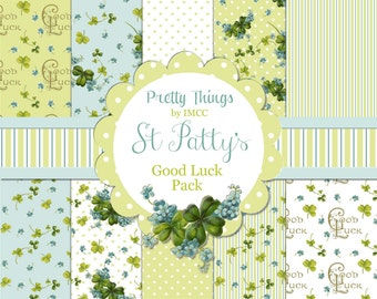 Digital Download Shabby St Patrick's Day Shamrocks Clover Green Good Luck Forget Me Not Paper Pack SEAMLESS Backgrounds Scrapbooking Clipart