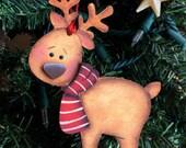 Reindeer ornament, Rudolph ornament, wooden reindeer, Christmas ornament, Christmas tree decor, prim ornament, xmas ornament,
