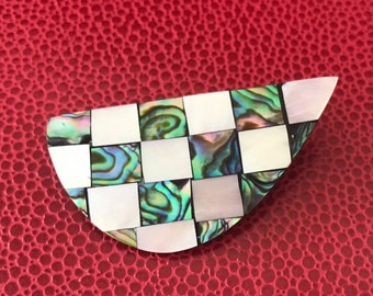 Beautiful Abalone and Mother of Pearl Checkered Abstract Inlay Brooch