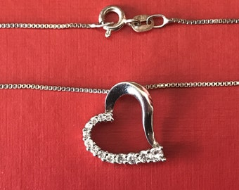 Vintage Sterling Silver  Heart and Graduated Clear Rhinestone Necklace