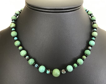 Colorful Green and Blue Turquoise Stone and Glass Bead Necklace