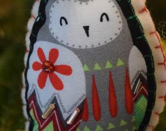 Sweet felt and fabric snowy owl ornament