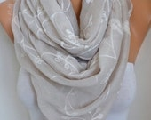 ON SALE --- Neutral Beige Cotton Embroidered Scarf, Soft, Bridal Shawl, Wedding Scarf,Summer Scarf, Cowl Gift Ideas For Her Women Fashion Ac