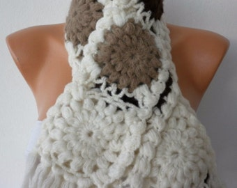Crochet  Scarf - Women Cowl - Knit Scarf   - Granny Square  - Creamy White - gift for her- mother's day gift-birthday gift