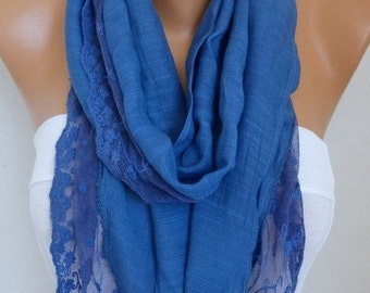 ON SALE --- Blue Lace Scarf, Summer Shawl,Wedding Scarf, Cowl Scarf, Bridal Accessories, Bridesmaid Gift, Gift Ideas For Her, Women Fashion
