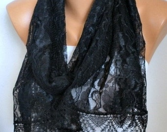 ON SALE --- Black Lace Scarf Shawl,Bridal Scarf,Wedding Scarf,Cowl Gift Ideas For Her Women Fashion Accessories Bridesmaid Gift,Women Scarve