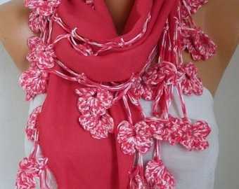 ON SALE --- Red Pashmina Floral Scarf  Oversize Scarf Shawl Cowl Scarf Bridesmaid Gift Gift Ideas For Her Women Fashion Accessories