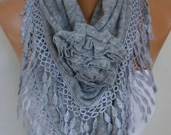ON SALE --- Gray Knitted Floral Scarf, OOAK Shawl, winter Scarf,Cowl, Bridesmaid Gift Bridal Accessories, Gift Ideas For Her, Women Fashion