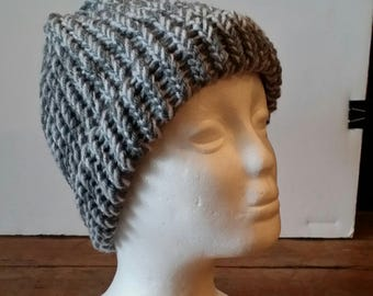 Grey & White Messy Bun Beanie Hat, crochet, 12th man, nfl, football, warm, weather, cold, snow, messy bun hat