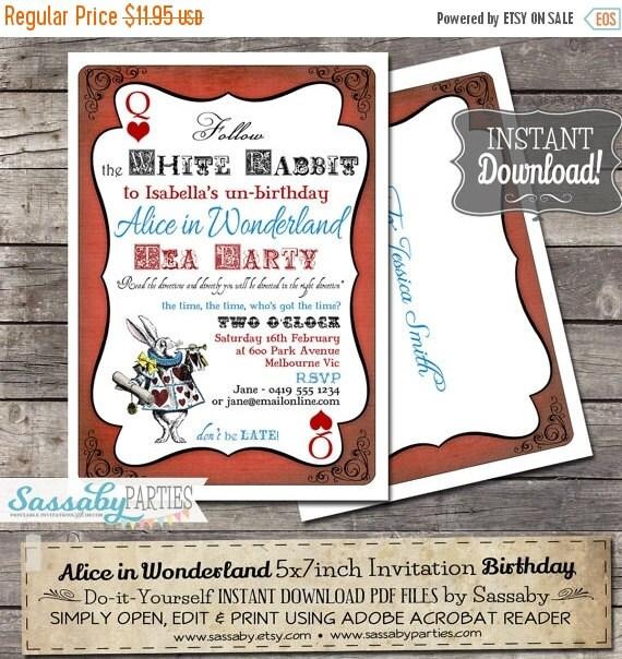 ON SALE Alice in Wonderland Birthday Party Invitation - INSTANT Download - Editable & Printable Tea Party Birthday Invitation by Sassaby Par