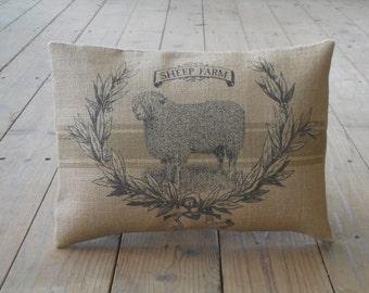 Sheep Farm Burlap Pillow,  Farmhouse Pillows, Shabby Chic, INSERT INCLUDED