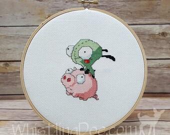 Invader Zim - Gir on Pig Cross Stitched Hoop Art