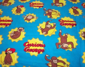 "Curious George Fabric Rare & Hard To Find 17"" x 22"""