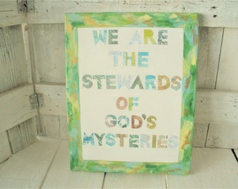Collage painting canvas sign with text religious message God sacred greens gold