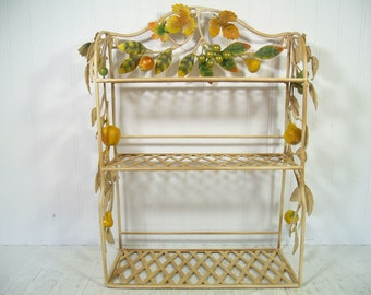 Gorgeous Wrought Iron Hanging Shelf - Basket Weave Display Shelves & Wrought Iron Applied Flowing Vines of Metal Leaves and Chalkware Fruit