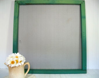 Huge Wooden Rustic Window Screen Shelf Chippy Green Paint - Vintage Primitive Architectural Salvage - Depression Era Barn Find Art Display