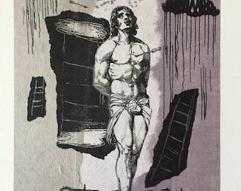 Original art monoprint Lithograph gay iconic Saint Sebastian religious homoerotic art male nude