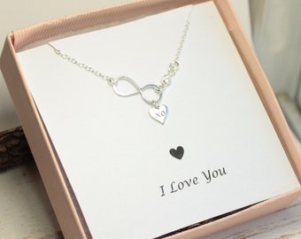 Sterling Silver Infinity and XO Heart Necklace with I Love You Sentiment Card