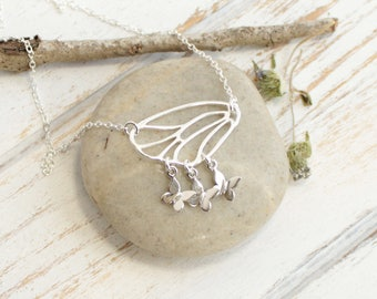 Sterling Silver Mother's Butterfly Wing Necklace... You choose how many baby butterflies hang from below