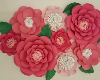 Large Pink Paper Flowers Set of 8 Large Paper Flower Photo Prop Backdrop Decor DIY Backdrop