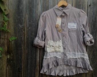 boho chic shabby dusty ecru lace chic rustic teen xs girl barn wedding princess eco gypsy blouse top jacket