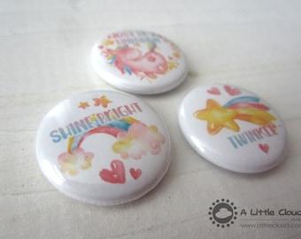 "1"" Unicorn Button Pin Set, cute, adorable, fantasy, kawaii, rainbow, star, heart"