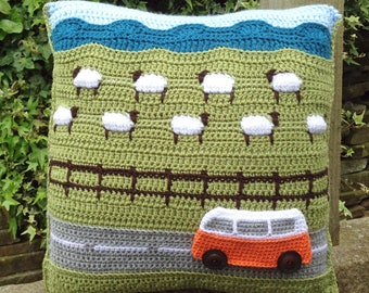 PDF Crochet Pattern for Campervan Travels Countryside Cushion (Pillow)