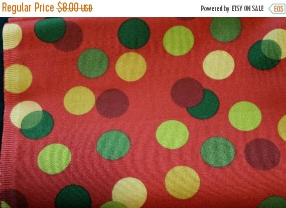 Polka Dot Fabric,Home Decor Fabric,Cotton Duck Fabric,Upholstery Fabric,Red and Green Dotted Fabric,Fabric by The YARD