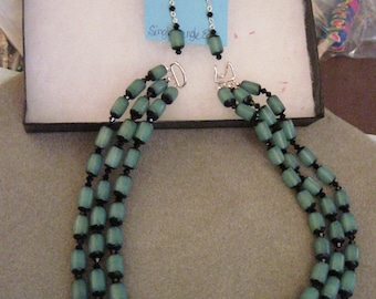 Betel Nut and Swarvoski 3 Strand  Necklace and Earring Set...Hand made...Original Design...Blue/Green