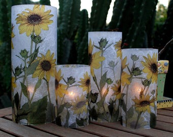 Sunflower Photography on 1 Extra Large candle holder with 1 free Electric Tea Light.  Table Centerpiece.  Garden and Patio decor.  LED light